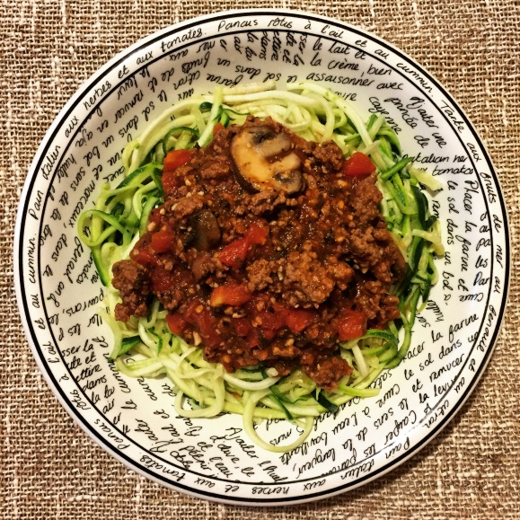 Zoodles with meat sauce